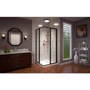 DreamLine Cornerview Framed Sliding Shower Door in Satin Black with Base in White - 42-in x 42-in x 72-in