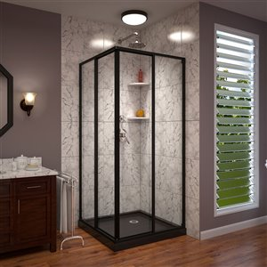 DreamLine Cornerview Framed Sliding Shower Door and Base -  Satin Black - 42-in x 72-in
