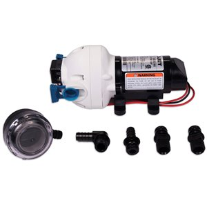 Flojet 12 Volt Water Pump 2.9 GPM & Flojet Strainer Bundle