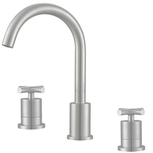 Ancona Ava Series Widespread Cross Handle Bathroom Faucet in Brushed Nickel finish