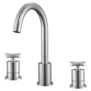 Ancona Ava Series Widespread Cross Handle Bathroom Faucet in Chrome finish