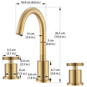 Ancona Nova Series Widespread Bathroom Faucet in Brushed Gold finish