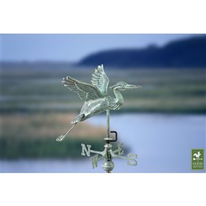 Good Directions Blue Heron Cottage Weathervane with Roof Mount - 26-in - Verdigris Copper
