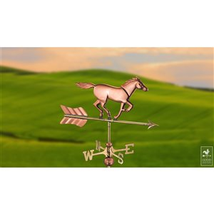 Good Directions Horse Cottage Weathervane with Roof Mount - 27-in - Copper