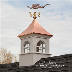 Good Directions Mermaid with Starfish Weathervane with Roof Mount - 29-in - Copper