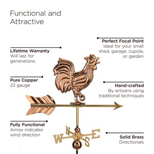 Good Directions Rooster Cottage Weathervane with Roof Mount - 28-in - Copper