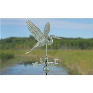 Good Directions Graceful Blue Heron Weathervane with Roof Mount - 36-in - Verdigris