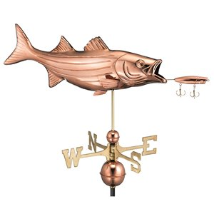 Good Directions Fish with Lure Weathervane - 33-in - Copper