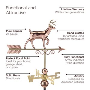 Good Directions Deer Weathervane with Roof Mount - 35-in - Copper