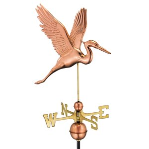 Good Directions Graceful Blue Heron Weathervane with Roof Mount - 36-in - Copper