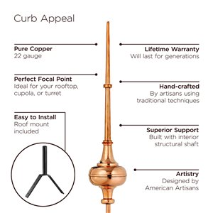 Good Directions Morgana Weathervane with Roof Mount - 45-in - Copper
