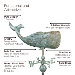 Good Directions Whale Weathervane - 34-in - Verdigris Copper