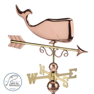 Good Directions Whale Weathervane - 30-in - Copper
