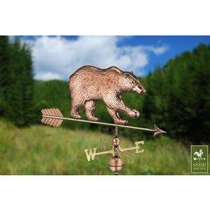 Good Directions Bear Weathervane with Arrow - 33-in - Copper
