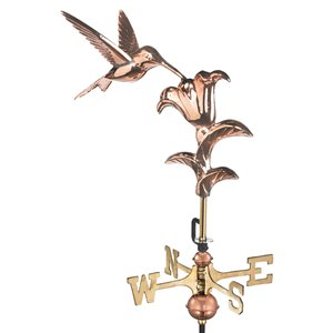 Good Directions Hummingbird Cottage Weathervane with Roof Mount - 29-in - Copper