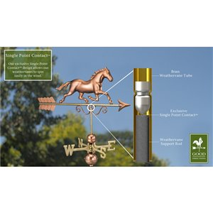 Good Directions Horse Weathervane - 33-in - Copper