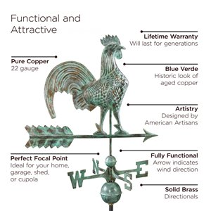 Good Directions Rooster Weathervane - 40-in - Verdigris Copper