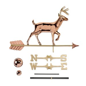 Good Directions Deer Weathervane with Roof Mount - 41-in - Copper