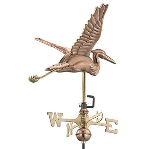 Good Directions Blue Heron Cottage Weathervane with Roof Mount - 26-in - Copper