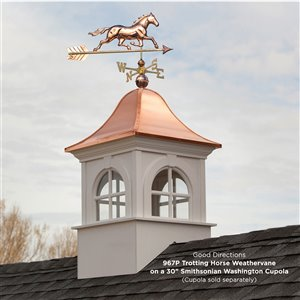 Good Directions Horse Weathervane with Roof Mount - 33-in - Copper