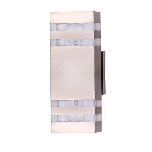 Beldi Arosa Collection 2-Light Outdoor Wall Light - Satin Nickel - 2-in x 5-in x 1.86-in