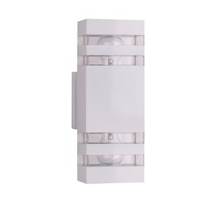 Beldi Arosa Collection 2-Light Outdoor Wall Light - White - 2-in x 5-in x 1.86-in