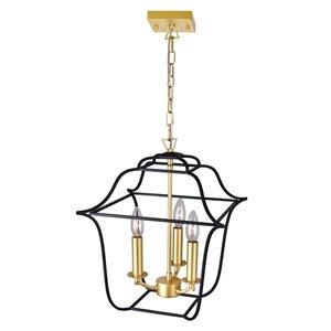 CWI Lighting Tudor Contemporary 3-Light Pendant  -  Satin Gold and Black Finish
