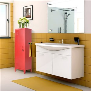 FurnitureR Height Bookcase Metal Storage Cabinet with Locker Red - 15-in x 54-in x 15-in