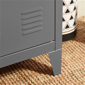 FurnitureR Metal Storage Cabinet as Night stand End table - Dark Grey - 16-in x 12-in 23-in