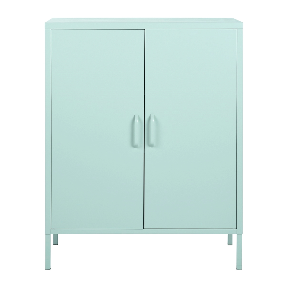 FurnitureR 5 Door Accent Cabinet Modern Metal Storage Cabinet Light Green -  35-in x 5-in x 5-in