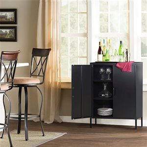 FurnitureR 2 Door Accent Cabinet Modern Metal Storage Cabinet Black - 32-in x 40-in x 16-in
