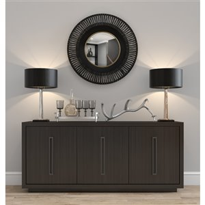 Gild Design House Cantara Metal Round Wall Mirror - Gold and Black - 18-in