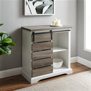 Walker Edison Farmhouse TV Cabinet - 32-in x 32-in - White/Grey