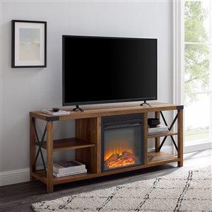 Walker Edison Industrial Fireplace TV Stand - 60-in x 25-in - Reclaimed Barnwood