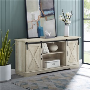 Walker Edison Farmhouse TV Cabinet with 2 Doors - 58-in x 28-in - White Oak
