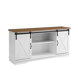 Walker Edison Farmhouse TV Cabinet - 58-in x 28-in - White/Rustic Oak