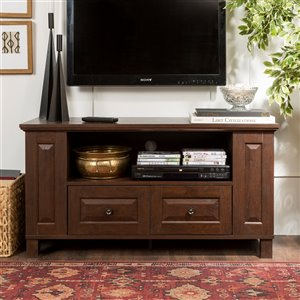 Walker Edison Country TV Cabinet with Storage - 44-in x 23-in - Brown
