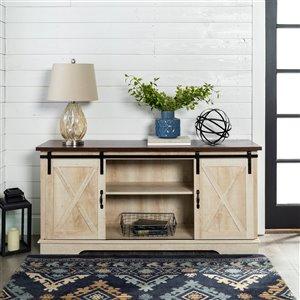 Walker Edison Farmhouse TV Cabinet - 58-in x 28-in - White Oak