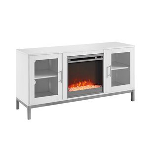 Walker Edison Modern Fireplace TV Stand - 52-in x 26-in - White