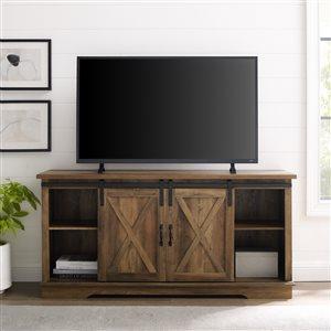 Walker Edison Farmhouse TV Cabinet - 58-in x 28-in - Rustic Oak