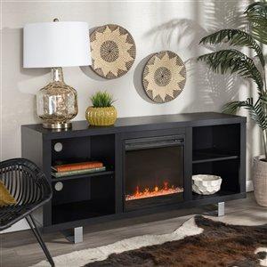 Walker Edison Modern Fireplace TV Stand - 58-in x 26-in - Black