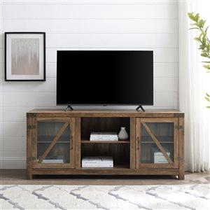 Walker Edison Farmhouse TV Cabinet - 59-in x 25-in - Rustic Oak