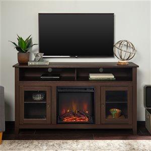 Walker Edison Farmhouse Fireplace TV Stand - 58-in x 32-in - Espresso