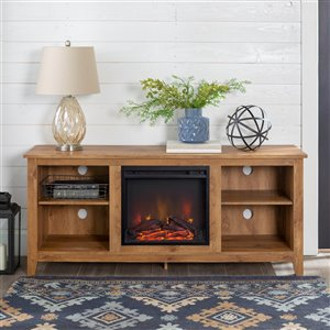 Walker Edison Farmhouse Fireplace TV Stand - 58-in x 25-in - Barnwood