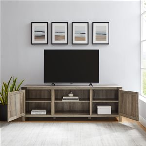 Walker Edison Farmhouse TV Cabinet with 2 Doors - 70-in x 24-in - Grey