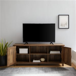 Walker Edison Farmhouse TV Cabinet - 58-in - Rustic Oak