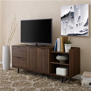 Walker Edison Modern TV Cabinet - 58-in x 25-in - Dark Walnut