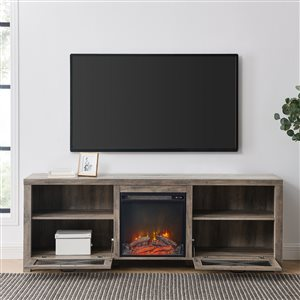 Walker Edison Farmhouse Fireplace TV Stand - 70-in x 25-in - Grey