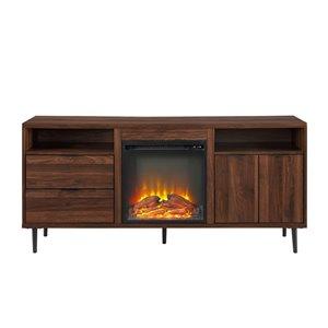 Walker Edison Modern Fireplace TV Stand - 60-in x 27.75-in - Dark Walnut