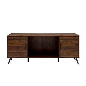 Walker Edison Mid-Century TV Cabinet - 60-in x 24-in - Dark Walnut